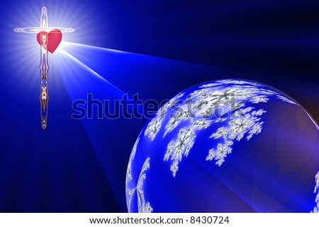 The Heart of The Cross shines the Divine Light on the blue planet earth - stock photo