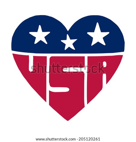 The heart with american flag colors, stars and inscription USA