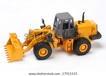 The heavy building bulldozer of yellow color on a white background ...