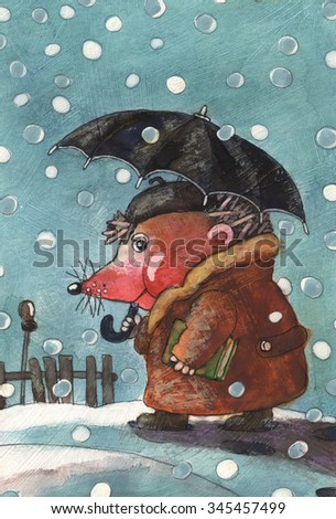 the hedgehog goes under an umbrella,snow falling,animal,art,abstract