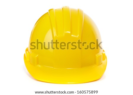 The helmet on a white background. Construction - stock photo
