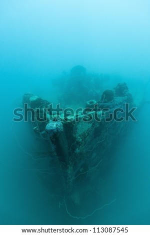 The Helmut Wreck, an unidentified 189 foot (57.6m) Japanese cargo ship sunk by American forces during World War II in the waters off the islands of Palau in Micronesia. - stock photo