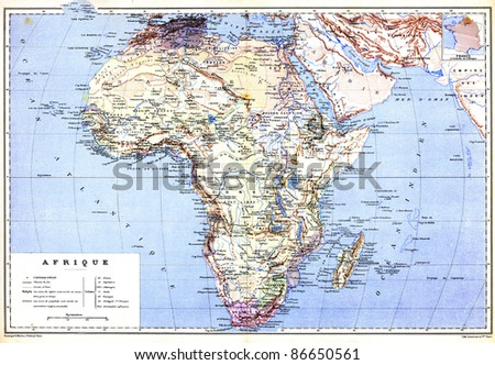 The hemispherical map of Africa with names of cities and countries on it from the late 1800s,  Trousset encyclopedia (1886 - 1891). - stock photo