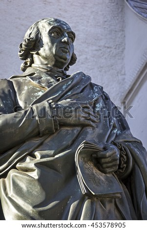 The Herder monument in Weimar. The monument was designed in 1848 by the sculptor Ludwig Schaller and cast in 1850 by Ferdinand von Miller. Ludwig Schaller (1804-1865) was an Austrian sculptor. - stock photo