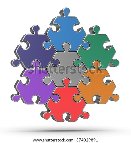 The hexagonal multicolored puzzle isolated on white background.