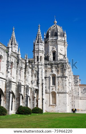 The Hieronymites Monastery is located in the Belem district of Lisbon, Portugal.