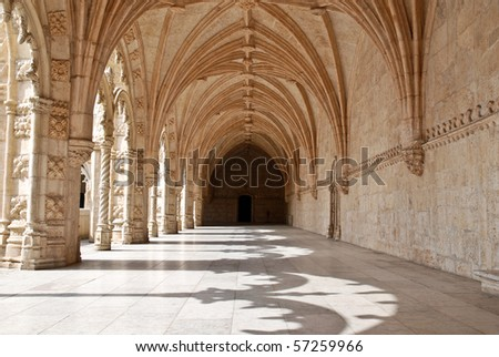 The Hieronymites Monastery (Mosteiro dos Jerónimos), located in the Belem district of Lisbon, Portugal. Typical example of the Manueline style (Portuguese late-Gothic). UNESCO  World Heritage Site. - stock photo