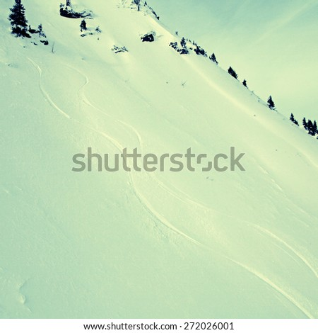 The high Alps Mountains landscape with snow slope  (Austria). Square toned image, instagram effect - stock photo