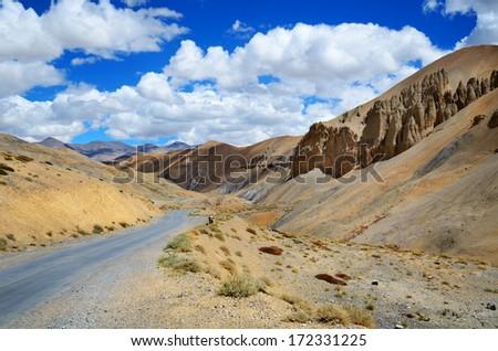 The high altitude Manali-Leh road in Himalaya mountains in Ladakh, Himachal Pradesh, India. - stock photo