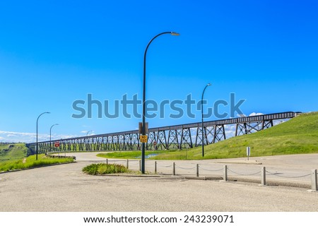 The High Level Bridge in Lethbridge, Alberta, Canada. The bridge is the longest and highest trestle bridge in the world soaring above the Oldman River.