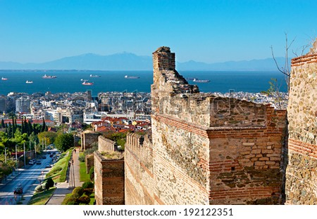 The high ramparts run down the hill from the Ano Poli to the Lower Town of Thessaloniki, Greece. - stock photo