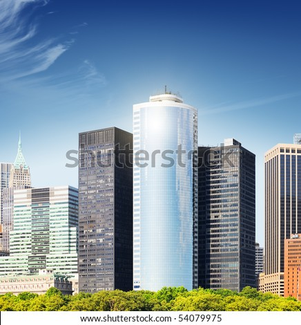 The high-rise buildings in downtown - stock photo