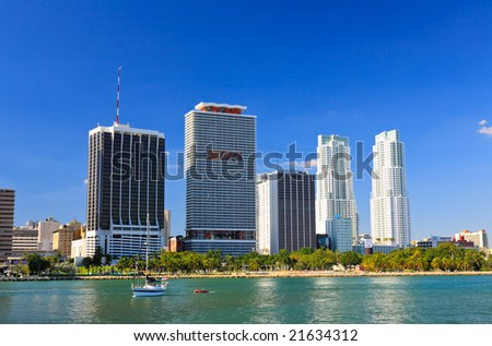 The high-rise buildings in downtown Miami Florida - stock photo