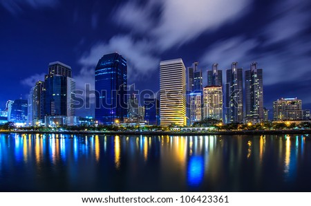 The high-rise buildings in downtown of Bangkok, Thailand - stock photo