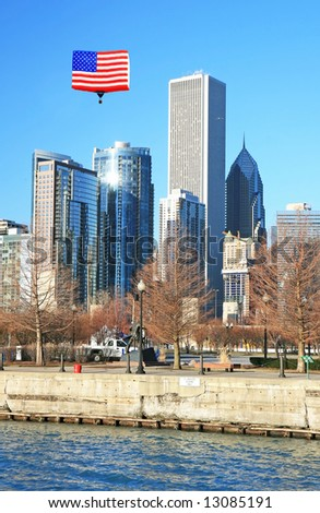 The high-rise buildings in the downtown Chicago - stock photo