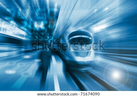 The high-speed train background with motion blur - stock photo