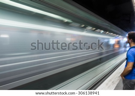 The high-speed train, metro of Paris, France
