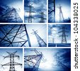 The high-voltage tower in the sky background (Puzzle) - stock photo