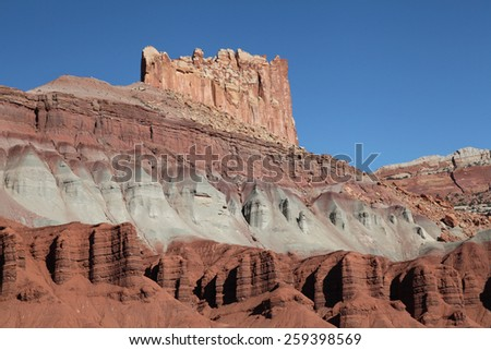 The Highly Eroded Red Rock Formation in Capital Reef National Park, Utah - stock photo