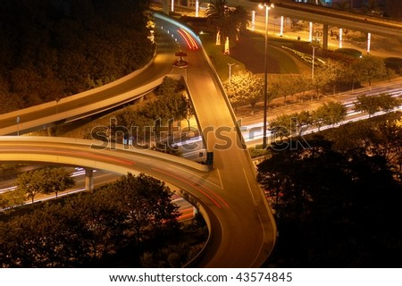 The highway intersection in night, China - stock photo