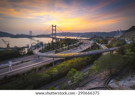 The highway road in Hong Kong (Tsing ma Bridge) - stock photo