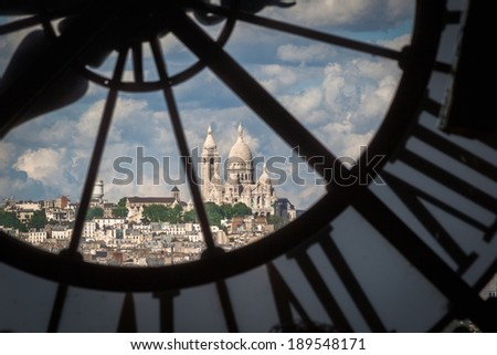 The hill of Sacre Couer view from the Musee D'Orsay - stock photo