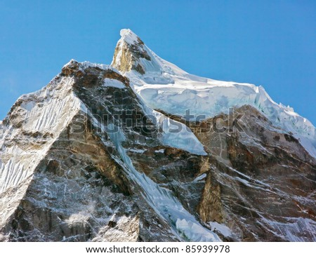 The himalayan peaks in the Everest region - Nepal - stock photo