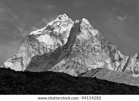 The himalayas morning (black and white) - Nepal - stock photo
