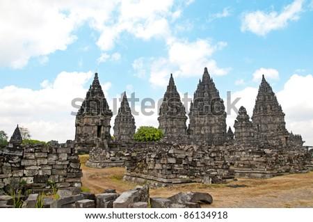 The Hinduism Prambanan temple - stock photo