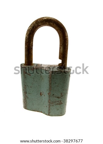 The hinged lock isolated on a white background - stock photo