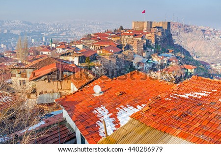 The Hisar Castle Hill is the historic neighborhood of Ankara, that preserved the medieval defensive and residential architecture, Turkey. - stock photo