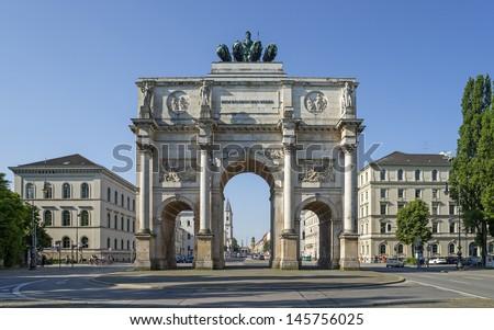 "The historic arc de triomphe ""Siegestor"" of Munich in Bavaria - stock photo"