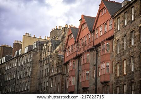The historic architecture of the Royal Mile, Edinburgh, Scotland, UK - stock photo