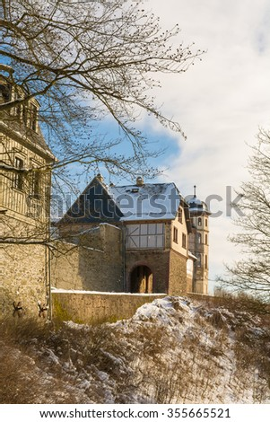 the historic castle of Stolberg in winter, Harz Mountains in Germany