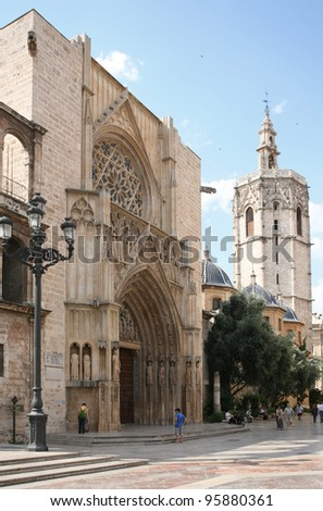 The historic cathedral in Valencia - stock photo