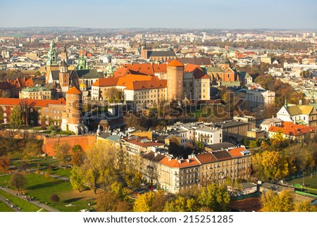 The historic center of Krakow with a bird's-eye view. - stock photo