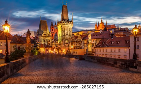 The historic center of Prague, ancient architecture, and cultural heritage/Prague Charles Bridge -3