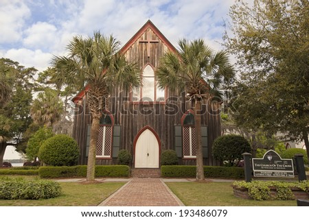 The historic Church of the Cross was built in Bluffton, South Carolina in 1854.  It remains a popular tourist attraction, while being an operating church. - stock photo