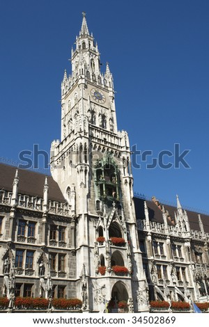 The historic city hall in Munich in Germany