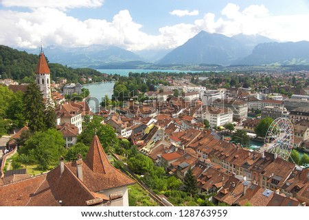 The historic city of Thun, in the canton of Bern in Switzerland - stock photo