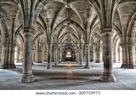 The historic Cloisters of Glasgow University. Dramatic and gritty bleach bypass processing. - stock photo