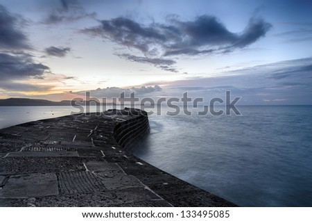 The historic Cobb at Lyme Regis on the Jurassic Coast in Dorset