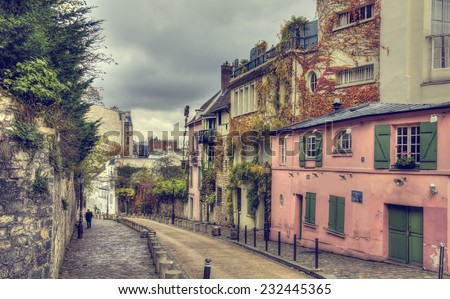The historic district of Montmartre in Paris,France - stock photo
