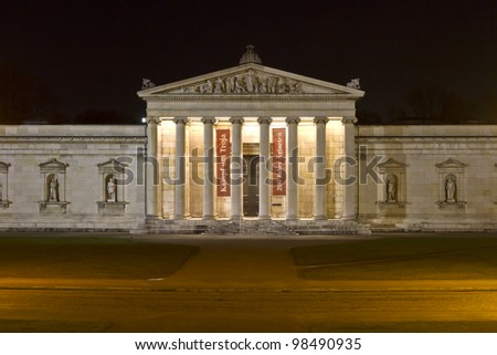 The historic Glyptothek museum in Munich, Germany, at night