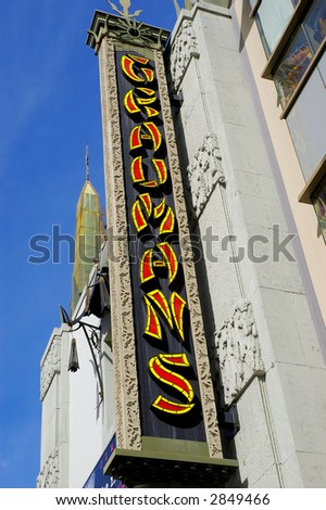 the historic graumans sign in hollywood - stock photo