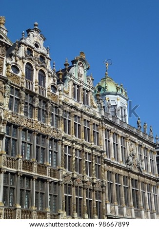 The historic guild houses on the grand place in Brussels in Belgium