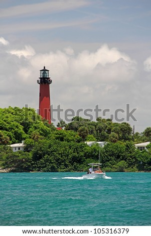The Historic Jupiter Inlet Lighthouse in South Florida - stock photo