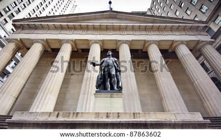 The historic landmark, The New York City Federal Hall - stock photo
