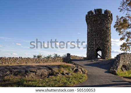 The historic New England Castle Craig located at Hubbard Park in Meriden Connecticut. - stock photo