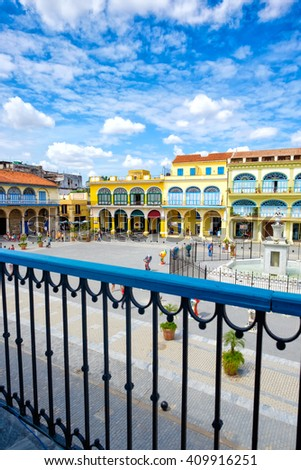 The historic Old Square or Plaza Vieja in the colonial neighborhood of Old Havana - stock photo